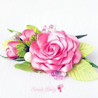 Заколка из атласных лент Розовый комплимент