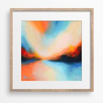 Современная абстрактная картина, пейзаж импрессионизм, квадратная картина 20х20 на холсте