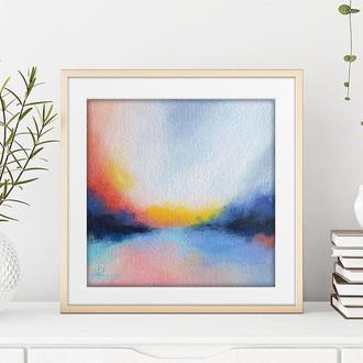 Яркий абстрактный пейзаж, маленькая оригинальная картина 20х20 на холсте