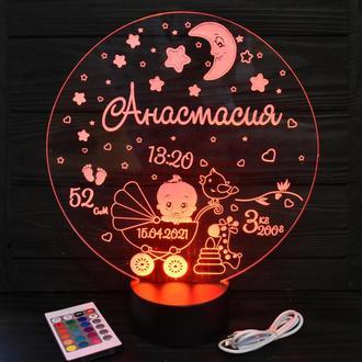 3D ночник - метрика в детскую, LED светильник, (16 цветов) с пультом