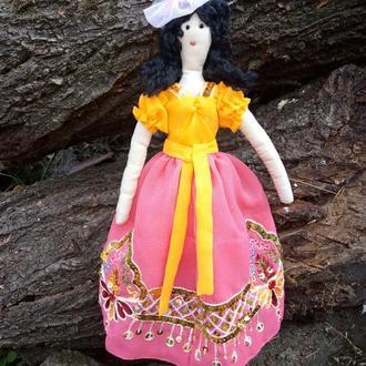 """Кукла """"В шляпе с пером"""" в стиле тильда, текстильная, интерьерная"""