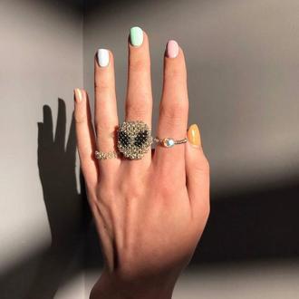 """Тренд!набор колец из бисера """"alien"""" ,кольцо из бисера и бусин"""