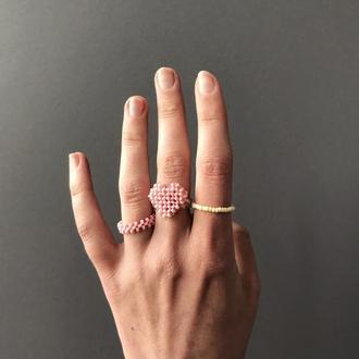 """Набор колец """"bubblegum"""" из бисера ,кольцо сердце из бисера и бусин"""
