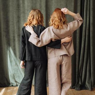 Свободные льняные штаны брюки летние кюлоты женские