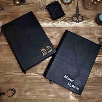 Черный кожаный блокнот. Классический блокнот