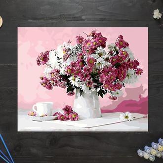 "Картина по номерам ""Хризантемы в вазе"", 50х40 см"