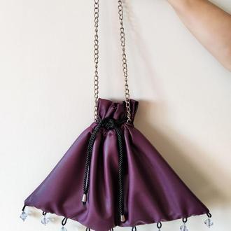 Стильная фиолетовая сумка-мешок из эко-кожы