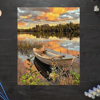 """Картина по номерам """"Лодка на закате"""", 40х50 см"""