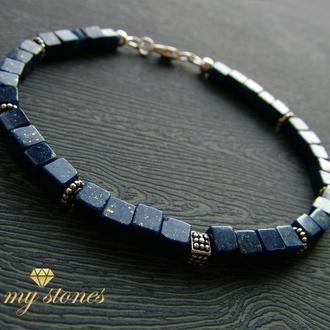"""Мужской браслет из афганского лазурита и серебра 925 пробы """"Square sky"""""""