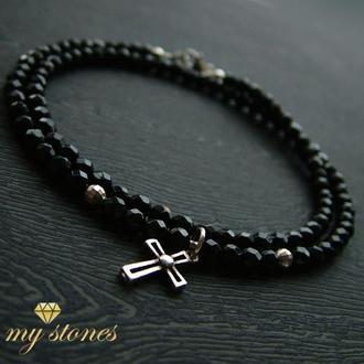 """Мужской браслет-чокер из черного агата и серебра 925 пробы """"Black cross"""""""