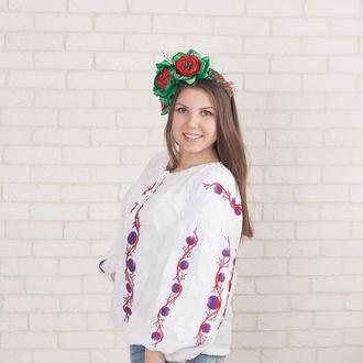Рубашка с вышивкой бисером