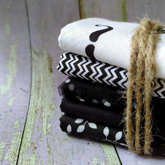 Набор хлопковой ткани для рукоделия Черно-белый