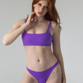 Фиолетовый купальник с открытым топом 2021, раздельный купальник с топом