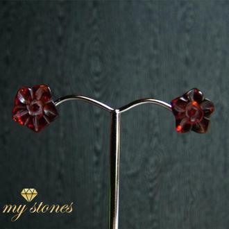 """Серьги из янтаря и серебра 925 пробы """"Amber flower"""""""