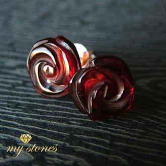 """Серьги из янтаря и серебра 925 пробы """"Amber rose"""""""