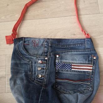 Женская джинсовая сумка с карманами