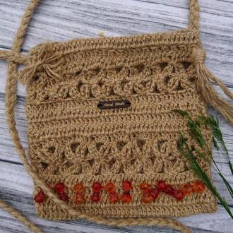 Вязаная сумочка из льна - маленькая сумочка через плечо