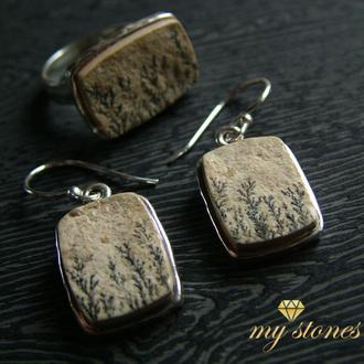 """Серебряные серьги и кольцо из пейзажной яшмы """"Nature"""""""