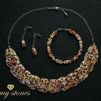 """Колье, серьги и браслет из янтаря и серебра 925 пр. """"Oriental sweets"""""""