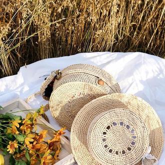 Жіночий капелюшок ручної роботи - канотье, жіночий літній капелюшок з рафії