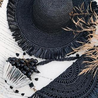 Плетений чорний капелюшок, чорний капелюшок з рафії