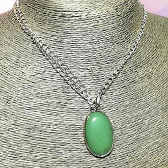 Кулон из Нефрита овал натуральный камень, подвеска нефритовая (без цепочки) \ Sc - 0005