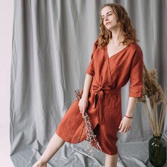 Льняной платье кимоно накидка ручной работы
