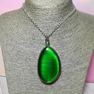Кулон большой Кошачий глаз зеленый натуральный камень, подвеска, медальон (без цепочки ) \ Sc - 0054