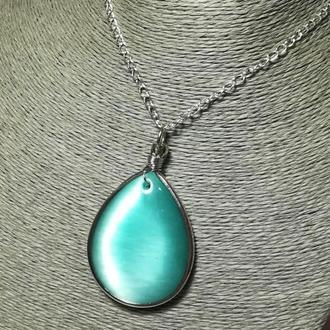 Кулон большой Кошачий глаз мятный натуральный камень, подвеска, медальон (без цепочки ) \ Sc - 0055
