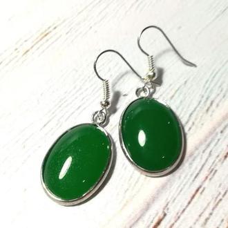 Серьги из Агата натуральный камень цвет зеленый и его оттенки \ S - 0404
