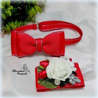 Галстук - бабочка и бутоньерка на руку  на выпускной в садик/ галстук  бабочка для мальчика /