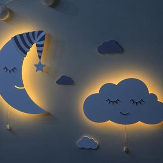 Ночники для детской комнаты. Декор в детскую. Светильники Облако и Месяц