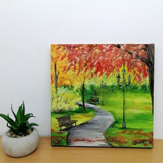 Картина маслом осінній парк полотно на підрамнику, Природа в парку, Краєвид маслом Золота осінь