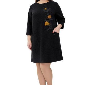 Сукня жіноча Світанок (трикотаж костюмний темно-сірий)