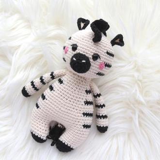 Зебра мягкая игрушка вязаная подарок для мальчика девочки на рождение, на годик, на День рожденья