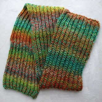 Большой шарф крупной вязки из толстых ниток зеленый оранжевый, подарок сестре, подруге, девушке