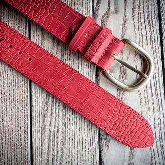 Кожаный красный женский ремень