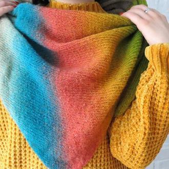 Цветной вязаный бактус из шерсти, треугольная асимметричная шаль осень зима, подарок девушке женщине