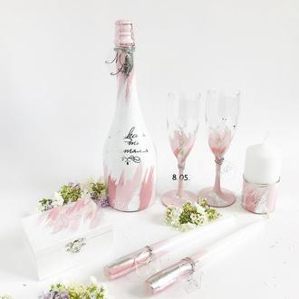 Свадебный набор в розово-серебряном цвете