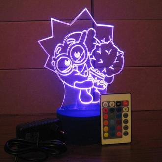 Ночник Ежик, светильник LED лампа, смешарики, игрушка, подарок ребенку, декор детской, интерьер