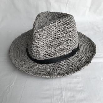 Шляпа Федора из рафии. Соломенная летняя шляпа.