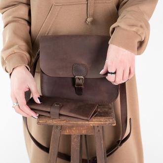 Комплект кожаная женская сумка и кошелек ручной работы коричневый
