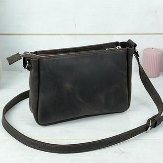 Женская кожаная сумка Надежда, винтажная кожа, цвет шоколад