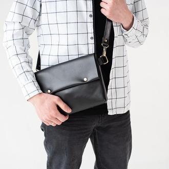 Мужская кожаная сумка черная ручной работы