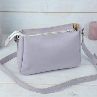 Женская кожаная сумка Надежда, гладкая кожа, цвет лиловый