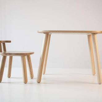 Комплект стол и стул детский 4-7 лет, натуральный бук