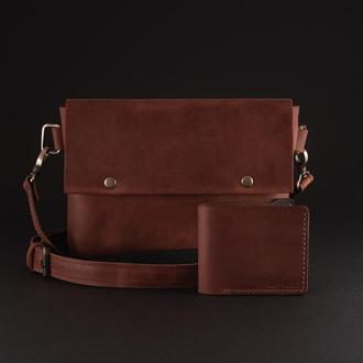 Комплект мужская кожаная сумка и кошелек цвет коньяк