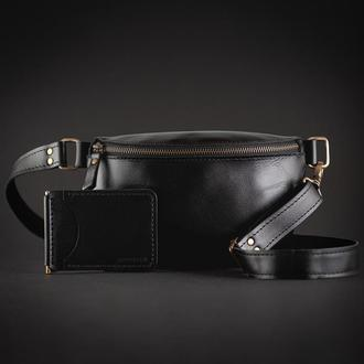 Мужской набор из натуральной кожи (кожаная сумка - бананка и кошелек - зажим ручной работы)
