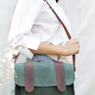 Шкіряна жіноча сумочка через плече коричневий Сэтчел