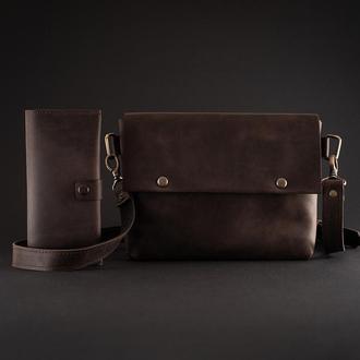 Женский кожаный комплект (сумка женская коричневая + большой кошелек)